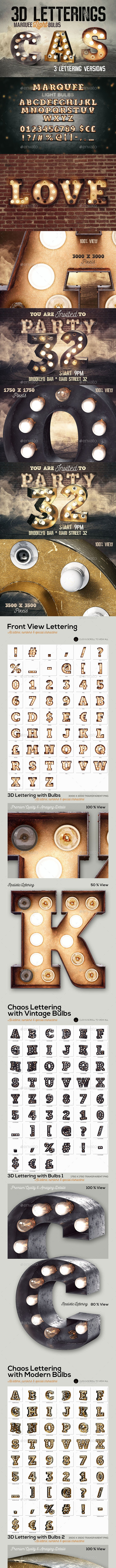 3 Light Bulbs 3D Letterings - Miscellaneous Graphics