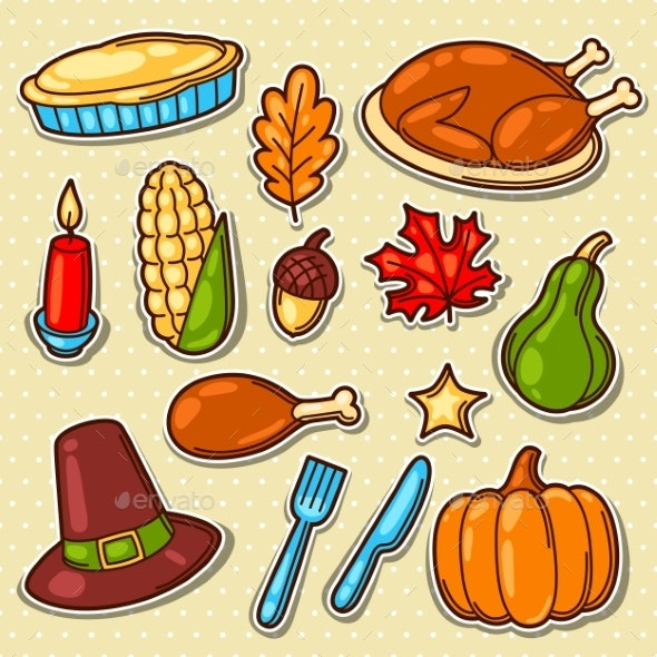 Set of Happy Thanksgiving Day Holiday Objects - Seasons/Holidays Conceptual