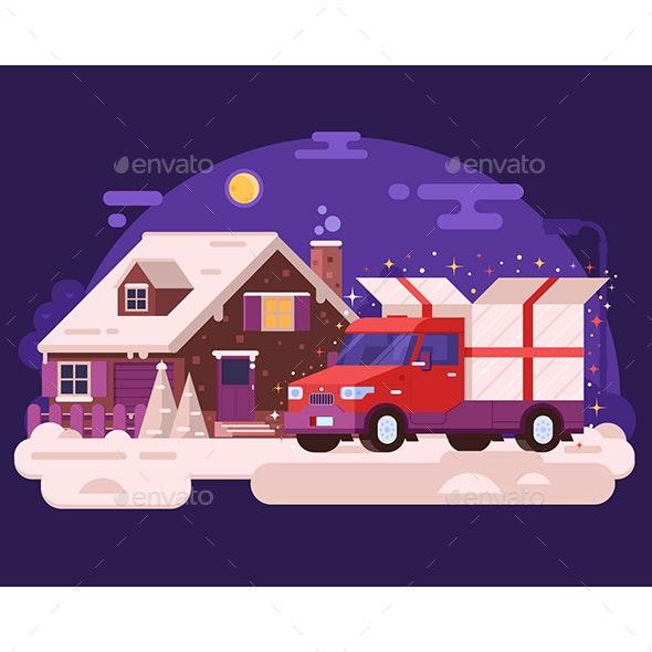 Winter Car Delivering Christmas Gift - Conceptual Vectors