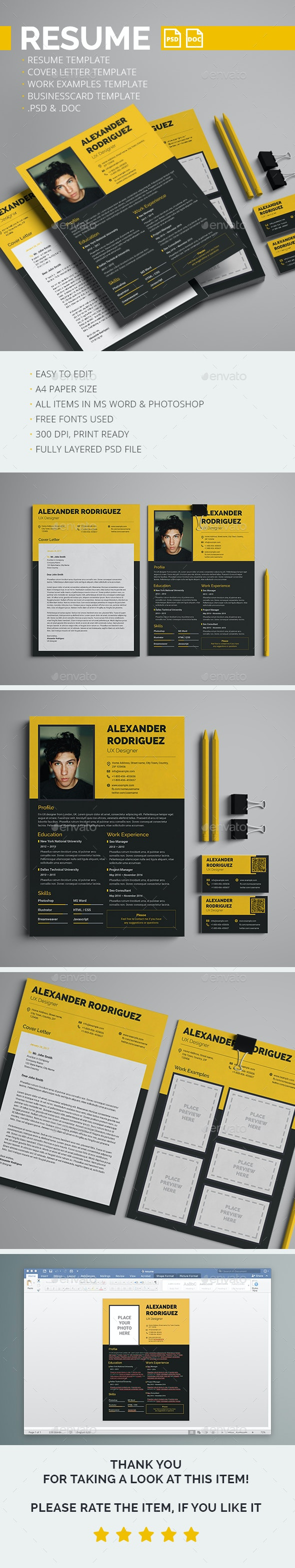 Resume, Cover letter, Work examples & Business card templates - Resumes Stationery