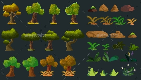 Cartoon Nature Elements Set for You Design. Vector - Animals Characters