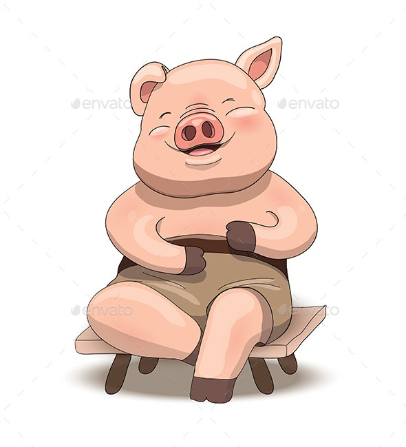 Cartoon Pig Character Sitting and Laughing - Animals Characters