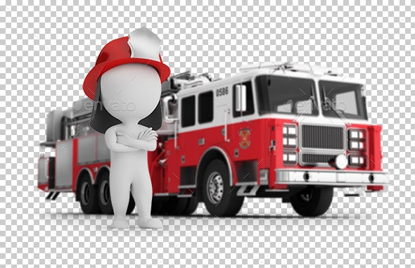 3D Small People - Fireman and Fire Truck - Characters 3D Renders