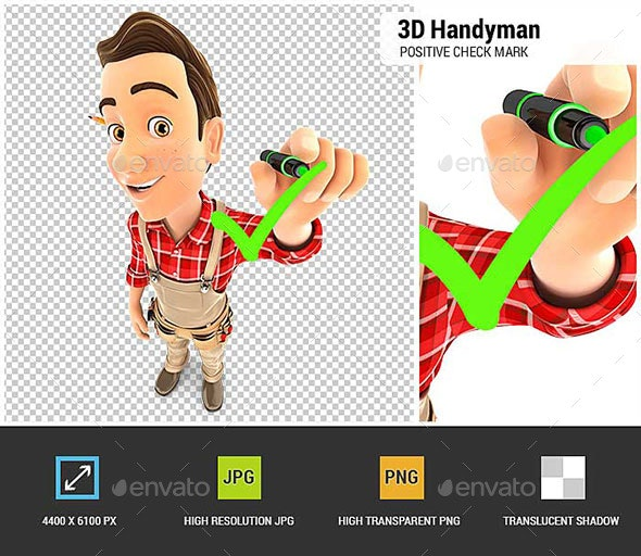 3D Handyman Drawing Positive Check Mark - Characters 3D Renders