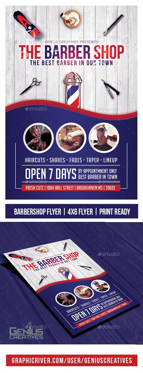 Barber Shop Flyer Template v3 - Commerce Flyers