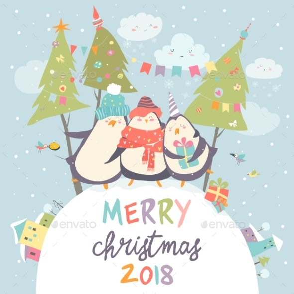 Penguin Friends Celebrating Christmas - Animals Characters