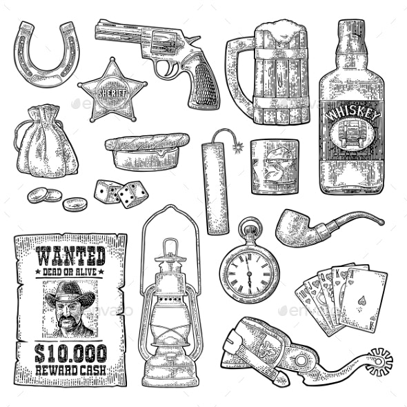 Set with Wild West and Casino Symbols - Miscellaneous Vectors
