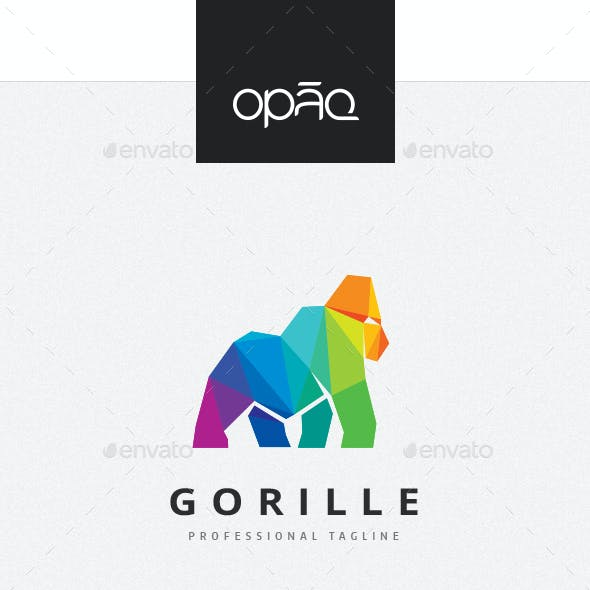 Gorilla Colorful Polygon Logo