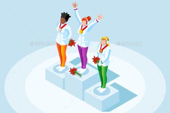 Female Winner Podium Winter Sports - People Characters