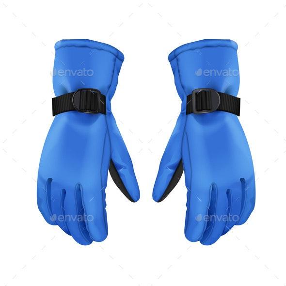 Blue Winter Gloves - Sports/Activity Conceptual