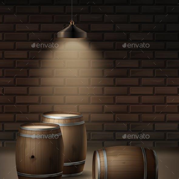 Vector Wooden Barrels