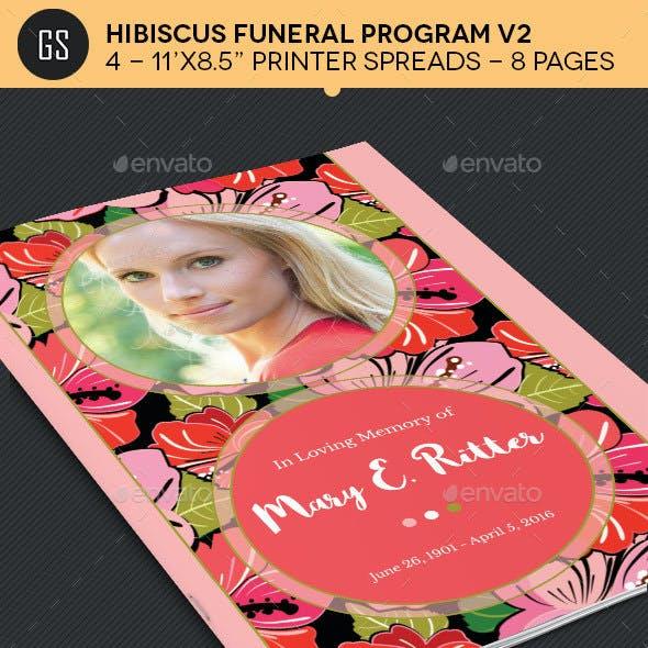 Hibiscus Funeral Program Template V2