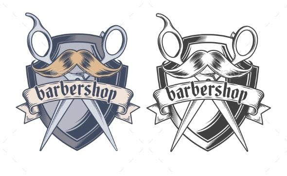 Barber Shop Equipment Illustration Engraved Style - Decorative Vectors