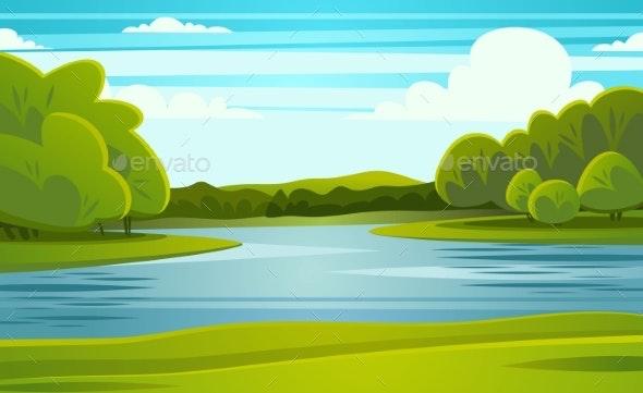 Landscape with River Vector Illustration - Landscapes Nature