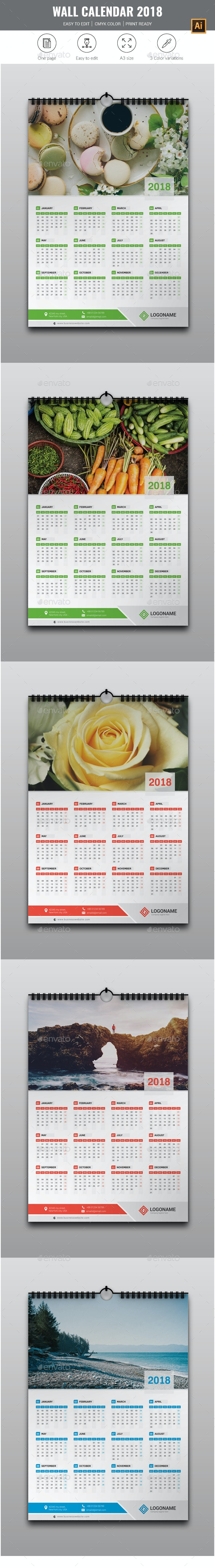 1 Page Wall Calendar 2018 - Calendars Stationery
