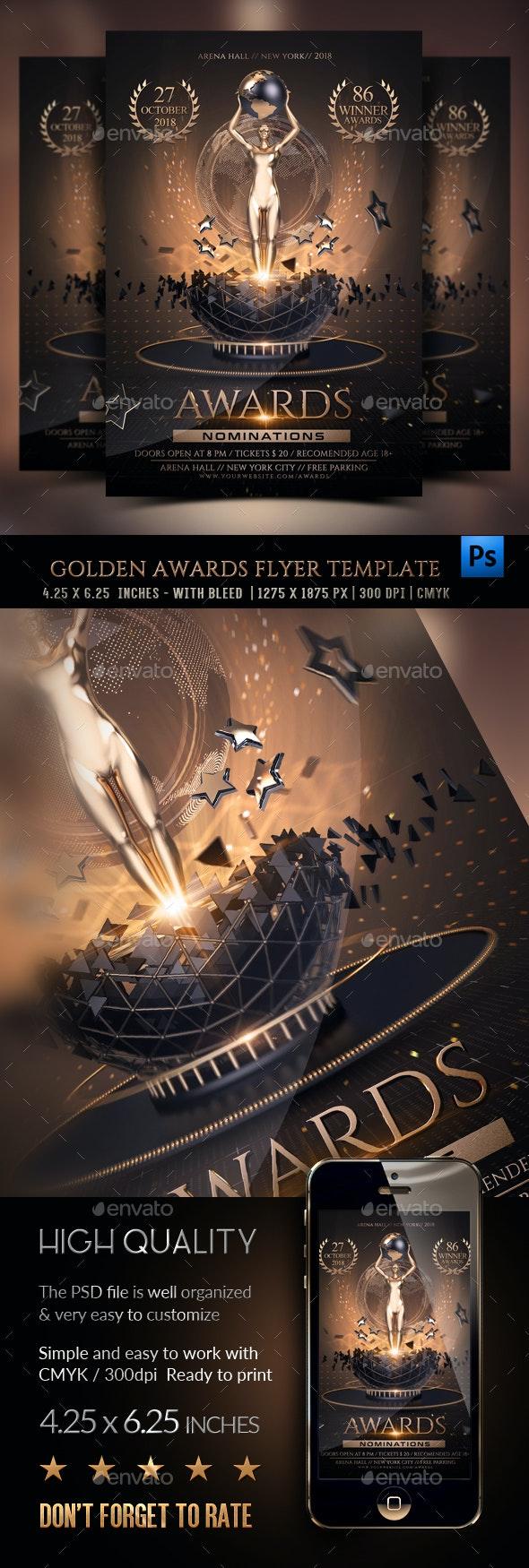 Golden Awards Flyer Template - Clubs & Parties Events