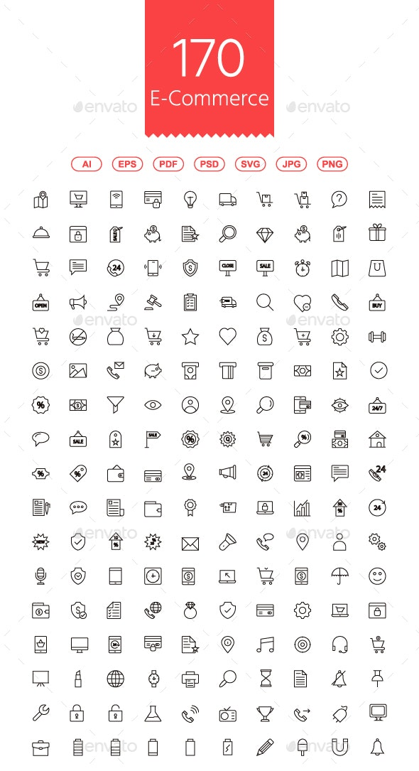 170 Shopping and E-commerce Line Icons - Business Icons