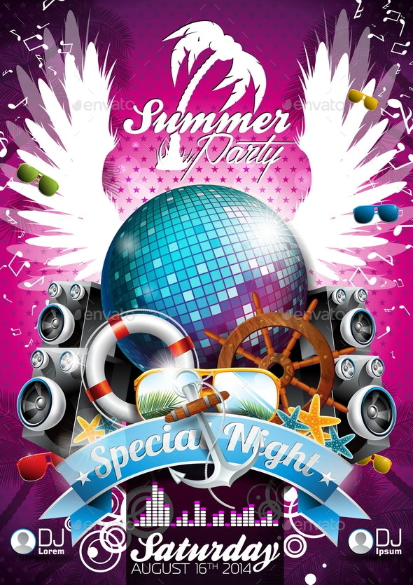 Vector Summer Beach Party Poster Design with Disco Ball - Miscellaneous Vectors