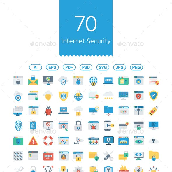 Internet Security flat icons