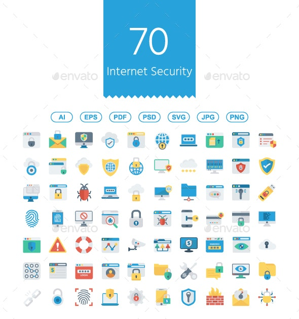 Internet Security flat icons - Business Icons