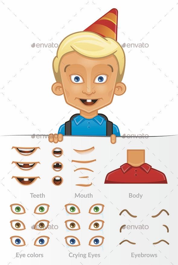 Vector Cartoon Illustration Of White Boy, Set, Editable - Characters Vectors