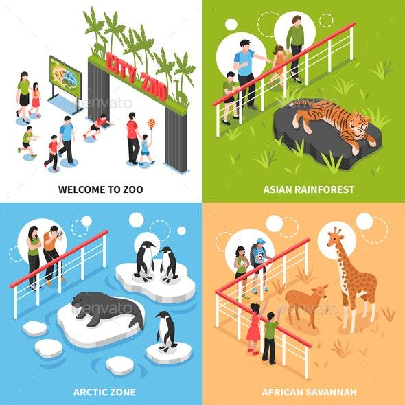 Zoo 2x2 Isometric Design Concept - Animals Characters