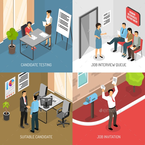 Employment Isometric Design Concept - People Characters
