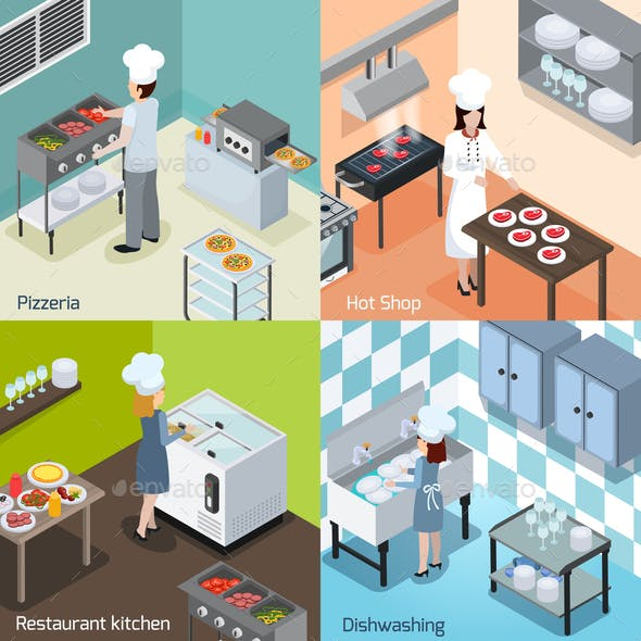 Professional Kitchen 4 Isometric Icons