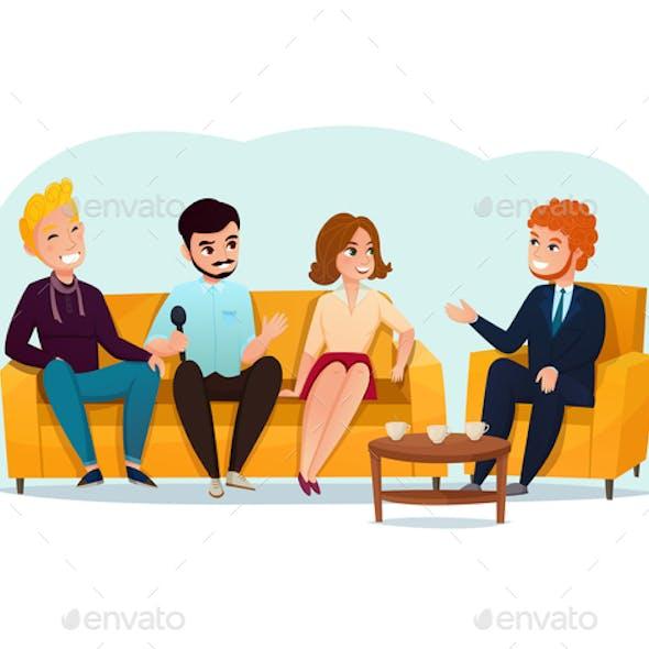 Talk Show Participants Illustration