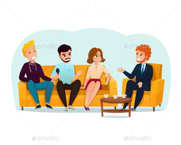 Talk Show Participants Illustration - People Characters