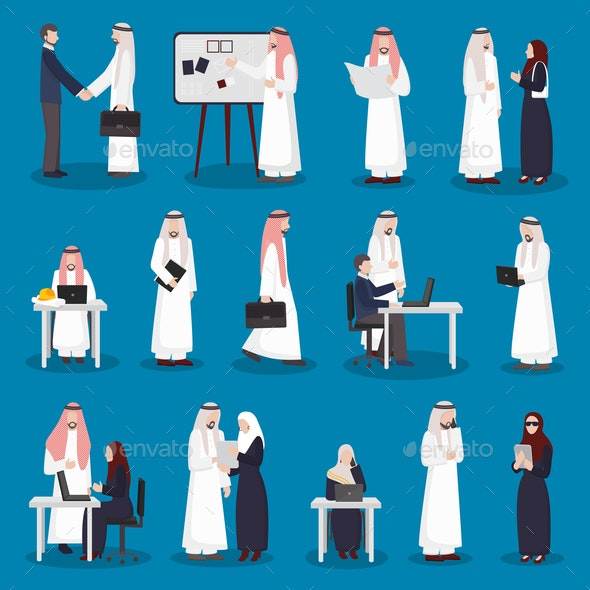 Arabian Business Characters Set - Business Conceptual