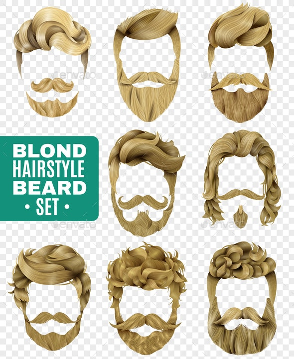 Realistic Male Hairstyle Set - People Characters