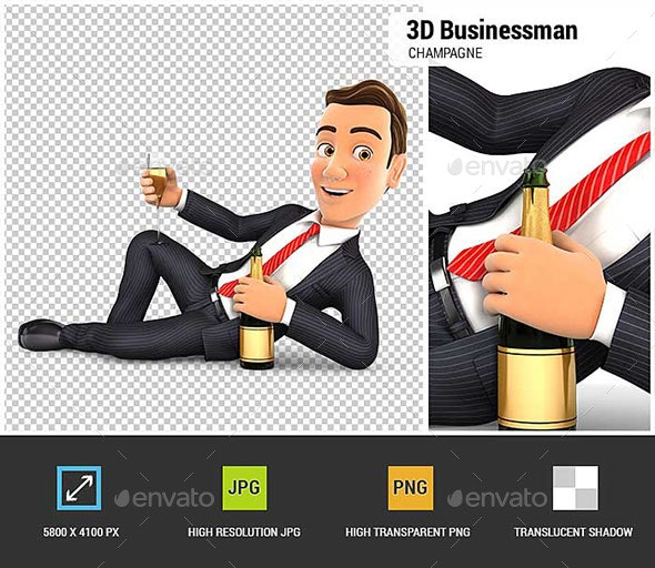 3D Businessman Lying on the Floor with Champagne - Characters 3D Renders