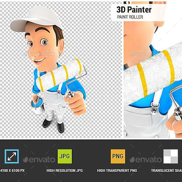 3D Painter Holding Paint Roller