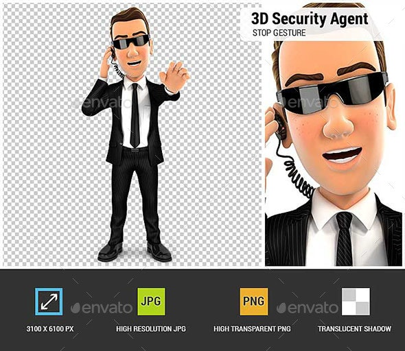 3D Security Agent Stop Gesture - Characters 3D Renders