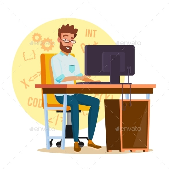 Programmer Man Vector. Stylized Young Developer - People Characters