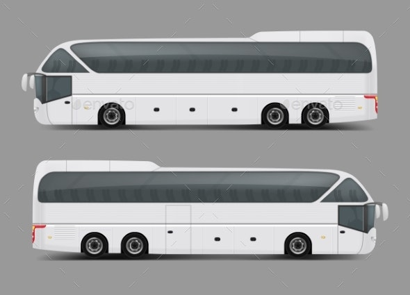 Private Charter Tour or Coach Bus Realistic Vector - Objects Vectors