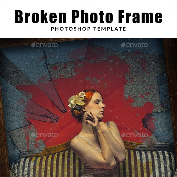 Broken Photo Frame Photoshop Template