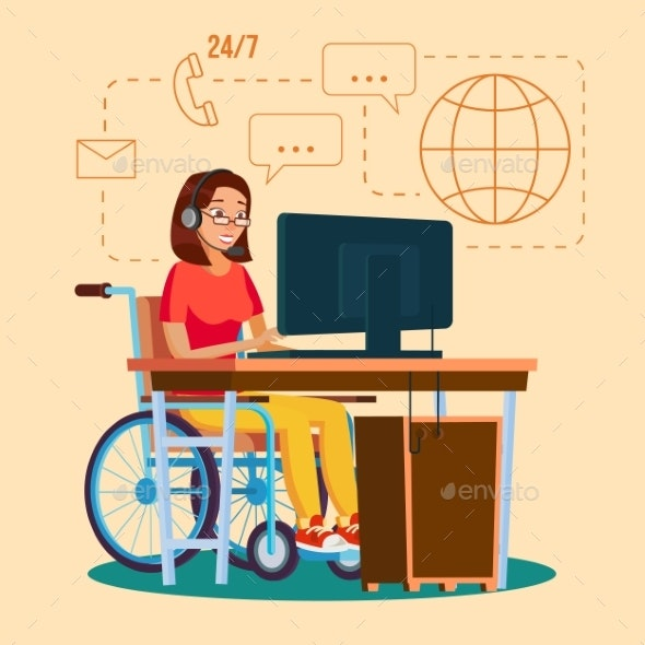 Disabled Woman Working Vector. Socialization - People Characters