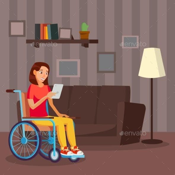 Disabled Woman Vector. Living With Disability
