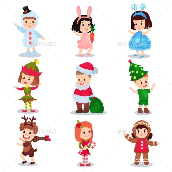 Kids Wearing Christmas Costumes Set - Characters Vectors