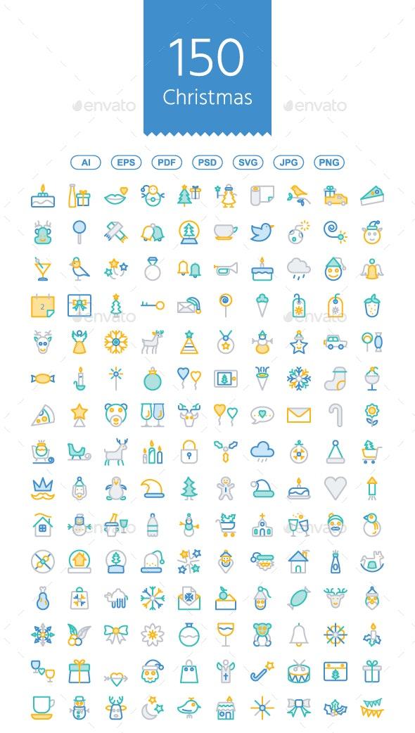 150 Christmas line color icons - Icons