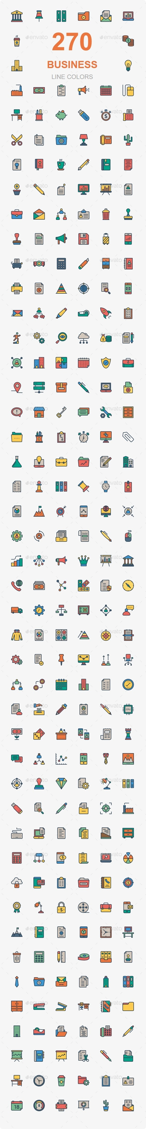 270 Bussines and Office Flat color - Business Icons