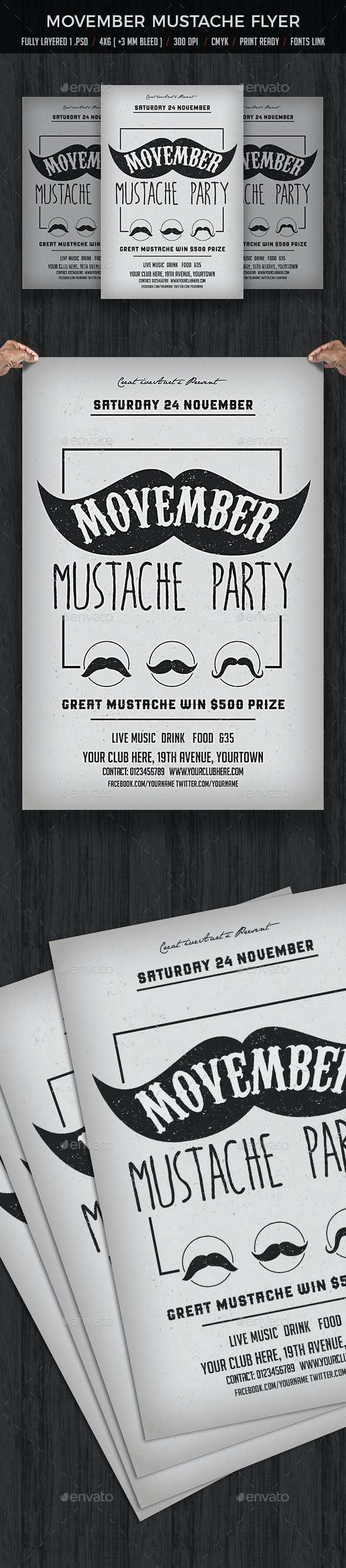 Movember Mustache - Clubs & Parties Events