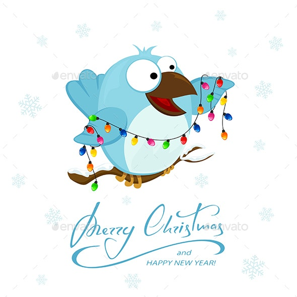 Blue Bird with Christmas Lights on a Snowy Background - Animals Characters