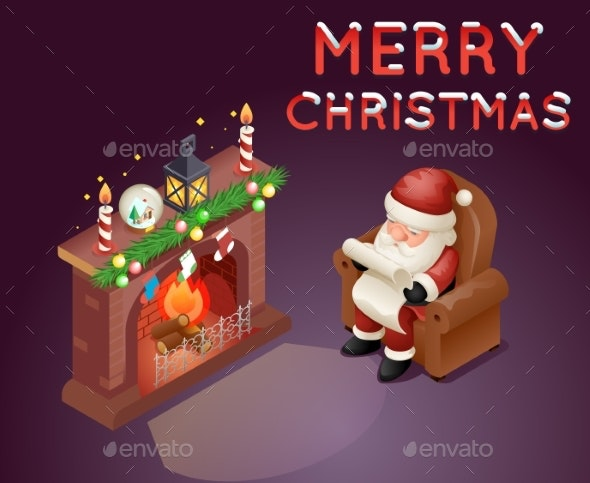 Isometric 3D Santa Claus Reading Gift List - Christmas Seasons/Holidays