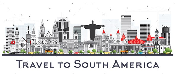 South America Skyline with Famous Landmarks Isolated - Buildings Objects