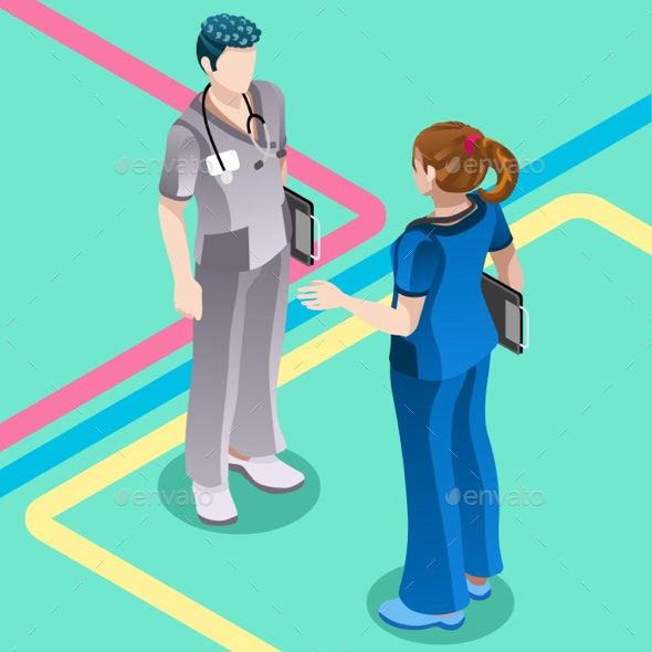 Hospital Nurse Student Talking with Doctor Vector Isometric People - Health/Medicine Conceptual