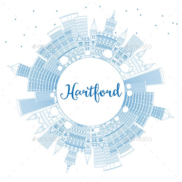 Outline Hartford Skyline with Blue Buildings and Copy Space - Buildings Objects