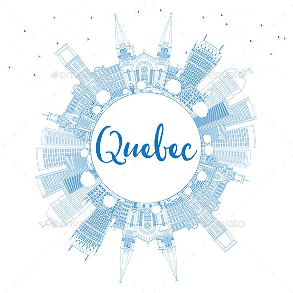 Outline Quebec Skyline with Blue Buildings and Copy Space - Buildings Objects